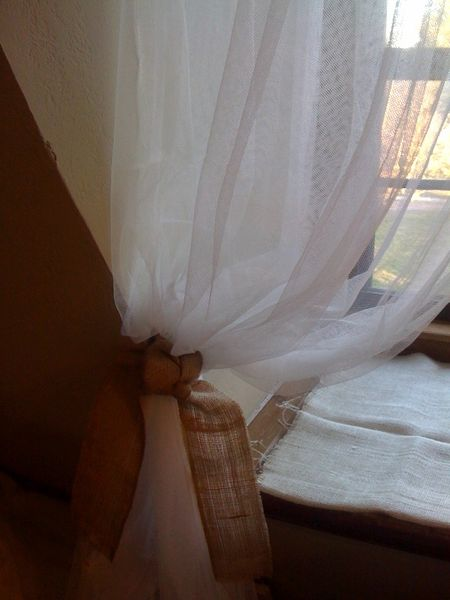 Filmy curtains with burlap ties