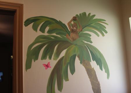 jungle mural monkey