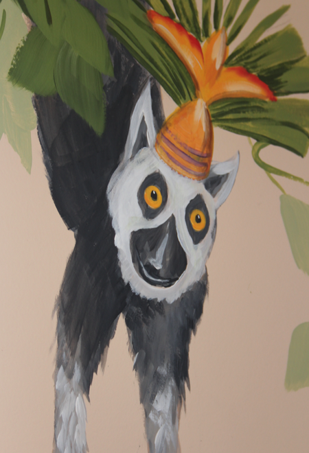 jungle mural lemur