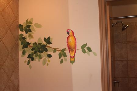 jungle mural parrot