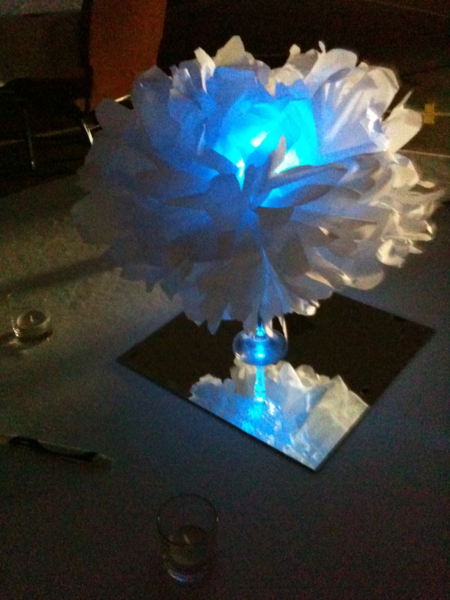 Tissue Paper Pom Pom with LED's