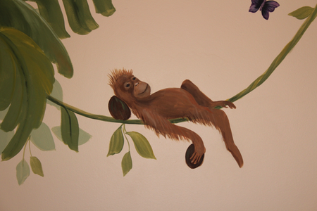 jungle mural monkey