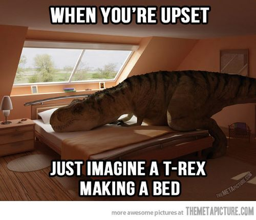 Funny-trex-making-bed