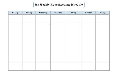 Simple Housekeeping Schedule